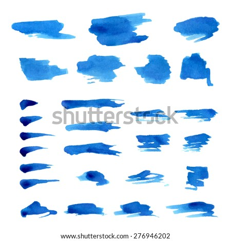 Vector set of grunge watercolor brush strokes. Paint brush textures isolated on white background.  - stock vector