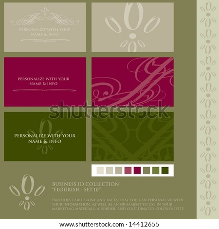 Vector set of grunged / rough ink style flourish business card designs. Includes color palette, card designs, ornament, and coordinating border. (Flourish Set 10)