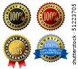 Vector set of 100% guarantee golden labels. - stock vector