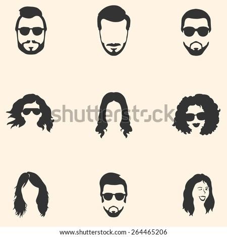 Vector Set of Hairstyles Icons. Hair, Beard, Mustache. Mens and Womens Hairstyles. - stock vector