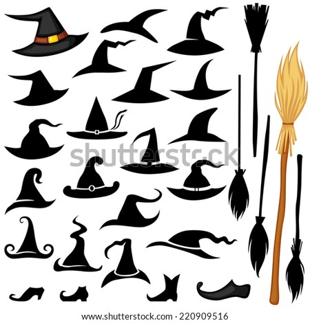 Vector set of Halloween accessories icon hat, broomstick, shoos - stock vector