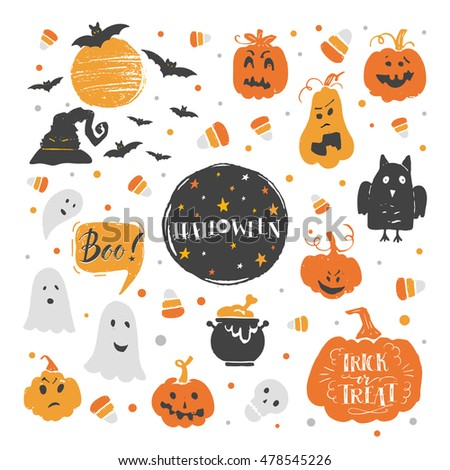 Vector set of Halloween design elements . Halloween stickers  with traditional symbols and handwritten lettering. Perfect for party invitation, greeting card, flyer, banner, poster.