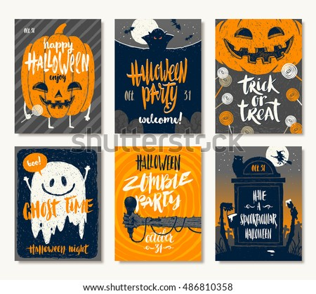 Vector set halloween holidays hand drawn stock photo photo vector vector set of halloween holidays hand drawn invitation or greeting card with handwritten calligraphy greetings m4hsunfo