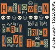 Vector set of halloween's stickers. Cartoon skulls. Halloween elements for scrap-booking. Hand drawn vector illustration. Trick or treat.  - stock photo
