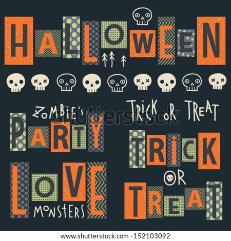 Vector set of halloween's stickers. Cartoon skulls. Halloween elements for scrap-booking. Hand drawn vector illustration. Trick or treat.  - stock vector