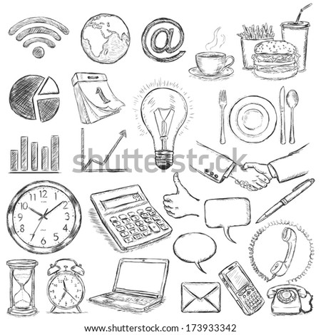 vector set of 25 hand draw business icons - stock vector