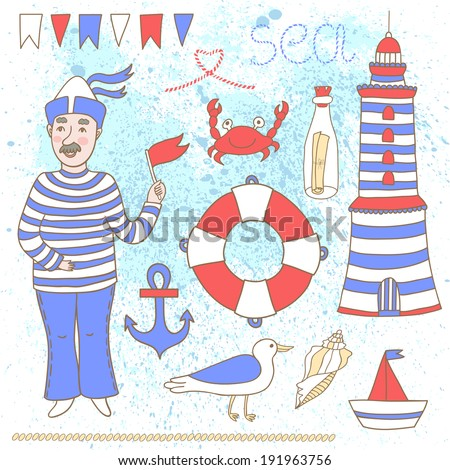 Vector set of hand drawing sea elements: lighthouse, boat, anchor, lifebuoy, shell, flags, seagull, crab, bottle with letter and cute smiling sailor on the blue background  - stock vector