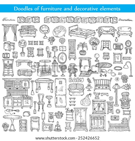Vector set of hand drawn and isolated doodles of furniture and decorative elements. Sketches for use in design - stock vector