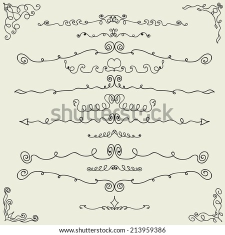 Vector set of hand drawn calligraphic design elements. Vector illustration - stock vector