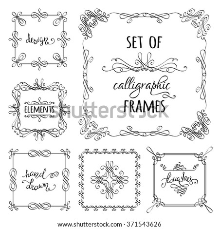 Vector set of hand-drawn calligraphic frames. Vintage ornaments, design elements, flourishes, ornamental page decorations and dividers. Can be used for invitations, congratulations and cards. - stock vector