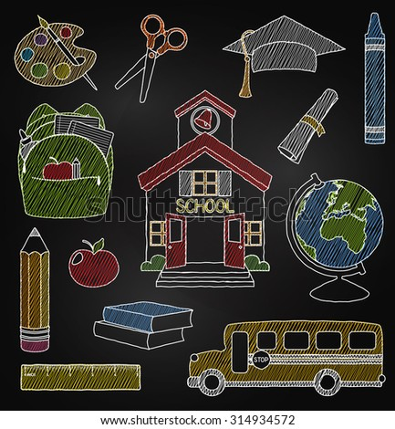 Vector Set of Hand Drawn Chalkboard Doodle School Vectors - stock vector