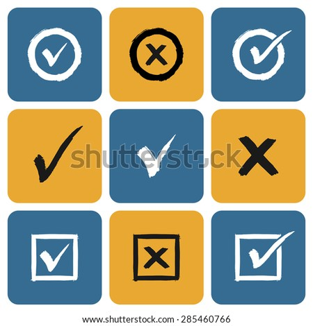 Vector Set of hand drawn Check Marks Icons. Ticks and Crosses Represents Confirmation, Right and Wrong Choices - stock vector
