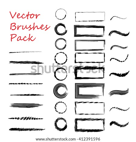 Vector set of hand drawn decorative brushes with corner tiles. For Dividers, borders, ornaments. All used pattern brushes are included in brush palette. - stock vector