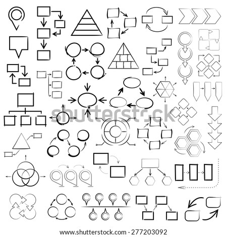 vector set of hand drawn diagrams, sketch diagram, chart, graph, process diagram, for business presentation template - stock vector