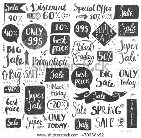 Vector set of hand drawn doodle sale lettering, typography, frames, bubbles. Retail promotion banner for discount offer or Black Friday clearance. Black and white