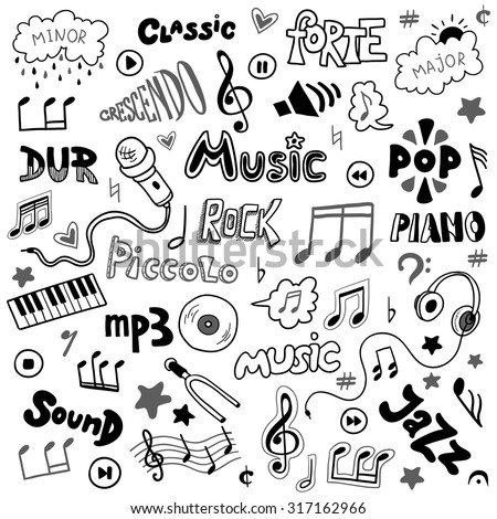 Vector set of hand drawn doodles on music theme. Colorless music symbols and word - stock vector