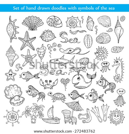 Vector set of hand drawn doodles with symbols of the sea on white background. Sketches for use in design
