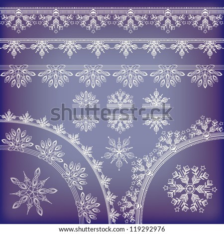Vector set of hand-drawn elegant lace made of snowflake elements - stock vector