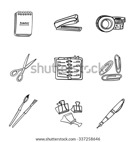 Vector set of hand drawn elements. Stationery collection of nine items: steppler, washi tape, scissors, calendar, notepad, binder clip, fountain pen, watercolor brush. - stock vector