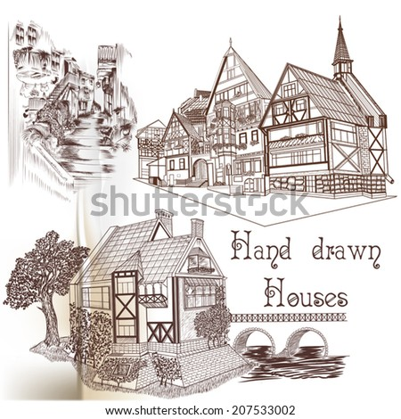 Vector set of hand drawn European houses