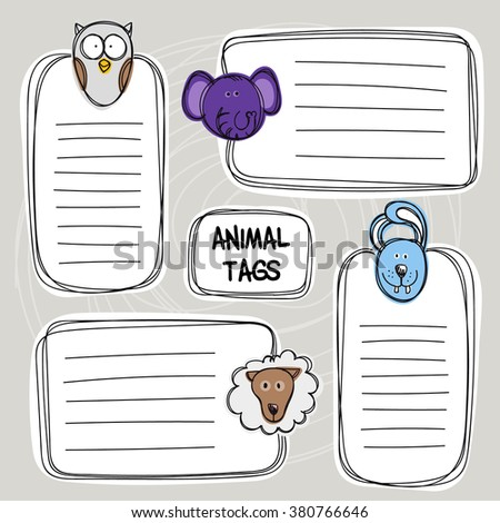 Vector set of hand drawn funny doodle tags with animals, sketch style. Good for children's stuff, invitations, stationery. - stock vector