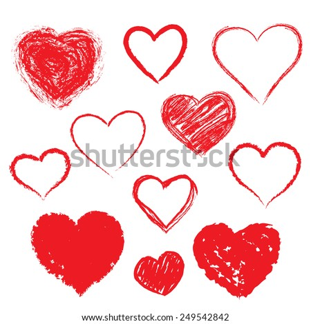 Vector set of Hand drawn hearts. Red color - stock vector