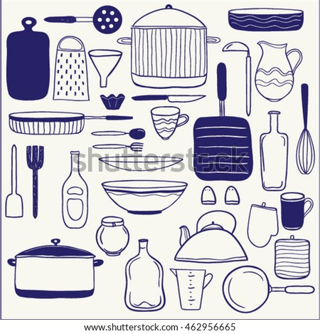 Vector Set Of Hand Drawn Icons Kitchen Utensils And Dishes Items Cute Cartoon Illustration