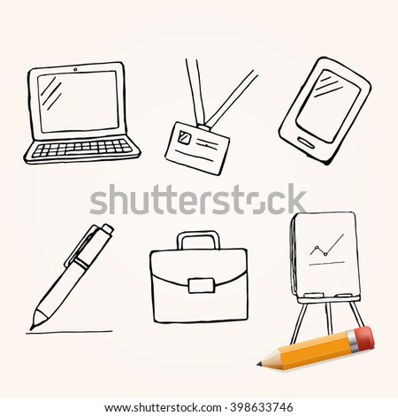 Vector set of hand drawn office elements, doodle business theme