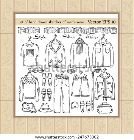 Vector set of hand drawn sketches of men's wear. Doodles for use in design - stock vector