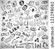 Vector set of hand drawn social doodles - stock photo