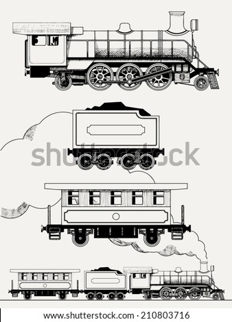 Vector set of hand drawn steam locomotive with coal and passenger car | Old train engraving stylized illustration - stock vector