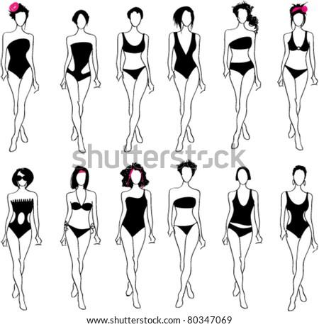 Vector set of hand drawn style elegant glamour bikini women illustrations - stock vector