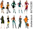 Vector set of hand drawn style illustration of beautiful autumn girls - stock photo