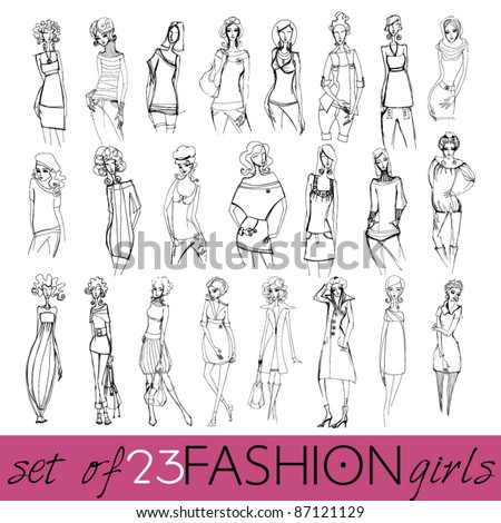Vector set of hand drawn style illustration of beautiful fashion girls - stock vector