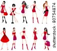 Vector set of hand drawn style illustration of beautiful summer girls - stock photo