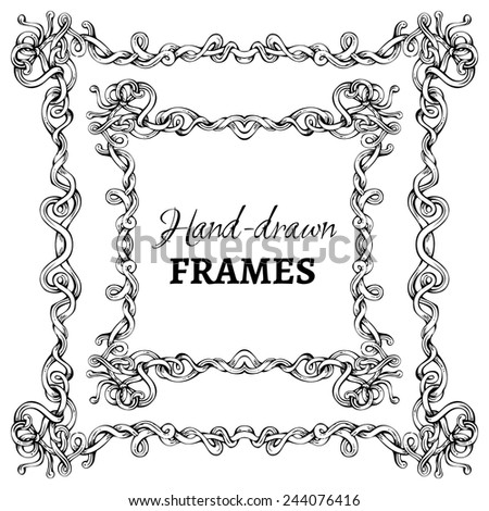Vector set of hand-drawn vintage frames. Decorative elements isolated on white background. Angle design. - stock vector