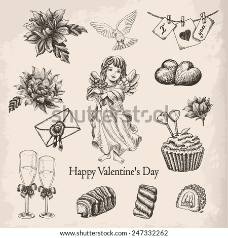 Vector set of hand drawn vintage valentine's day collection. Vector illustration for your design - stock vector