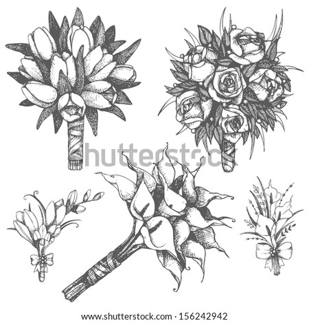Vector set of  hand drawn wedding bouquets and buttonholes with roses,tulips, calla flowers - stock vector