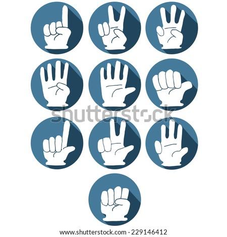 vector set of hand number gesture - stock vector