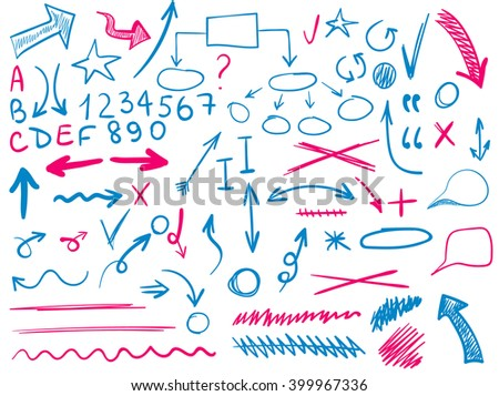 VECTOR  set of hand-sketched icons. Elements for text correction or planning in blue and red colors. Hand-drawn arrows. Magenta and cian colors.  - stock vector