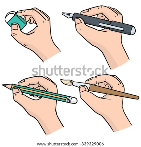 vector set of hand writing with pen, pencil, brush and erasing - stock vector