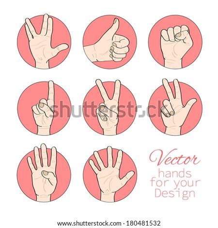 Vector set of hands - stock vector