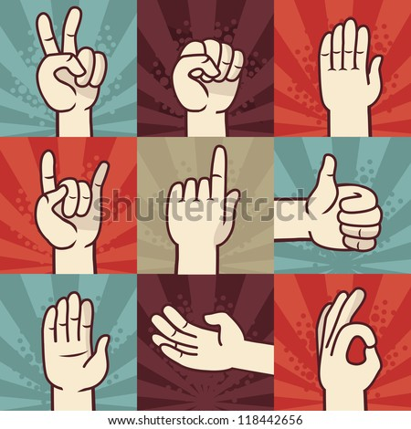 Vector set of hands and gestures - illustration in retro comic style - stock vector