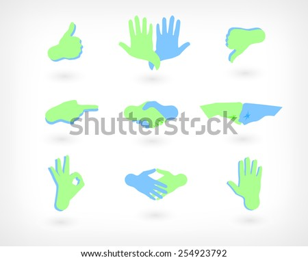 Vector Set Of Hands Icons: Like, Dislike, Handshake, OK Gesture and Other. Web Buttons - stock vector