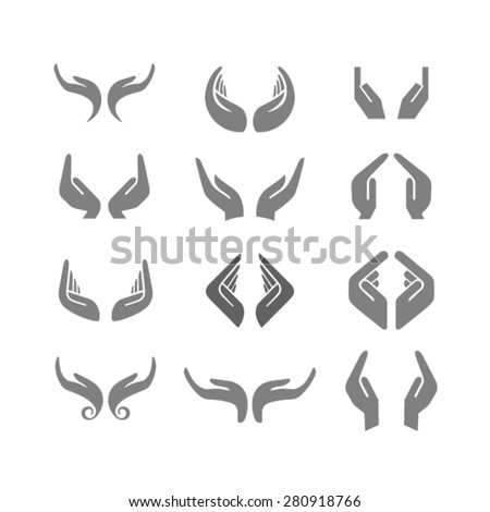 Vector set of hands in various positions - stock vector