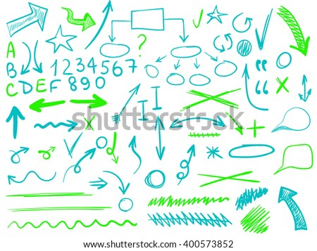 VECTOR set of handsketched icons. Elements for text correction or planning in blue and green colors. Hand-drawn arrows. - stock vector