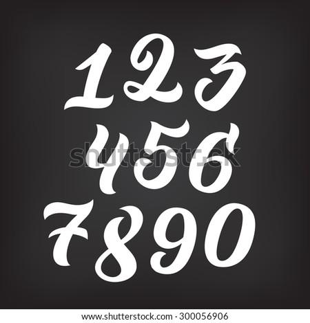 Numbers 09 Written Brush On White Stock Vector 250272676