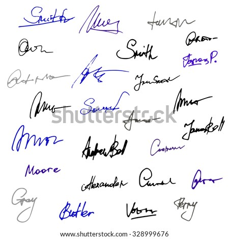 Vector set of handwritten signatures. Hand drawn signature isolated on white background. Business autograph illustration.