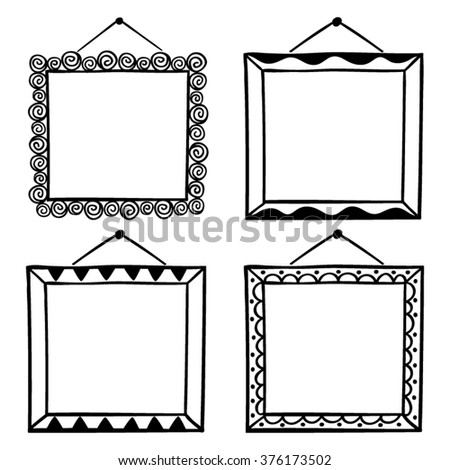 Vector Set Hanging Picture Frames Hand Stock Vector 376173502 ...