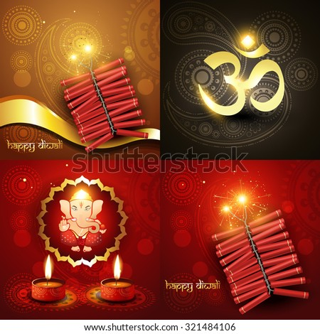 vector set of happy diwali background illustration with lord ganesha and fireworks - stock vector
